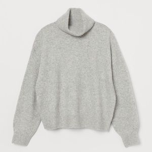 H&M Grey Knit Turtle Neck Wool Blend Sweater S